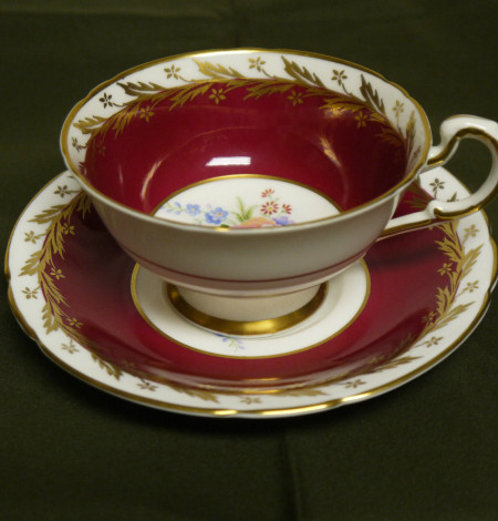 paragon tea cup, burgundy tea cup, gold tea cup, tea cup and saucer